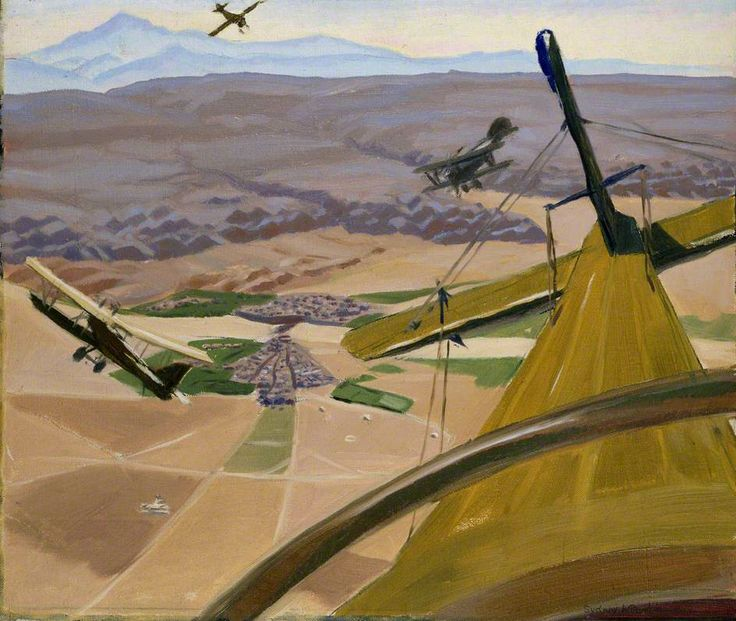 Over the Hills of Kurdistan: Flying above Kirkuk by Sydney William Carline.  Date painted: 1919