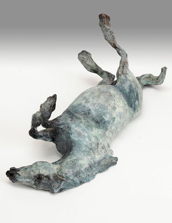 Bronze Horse Sculpture / Equines Race Horses Pack HorseCart Horses Plough Horsess sculpture by artist Belinda Sillars titled: 'Humphrey (bronze Little Rolling Horse Pony sculpture statue statuette)'