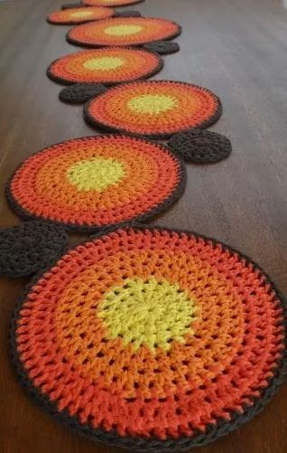 camino de mesa o tapiz de hilo al crochet - 1 metro de largo