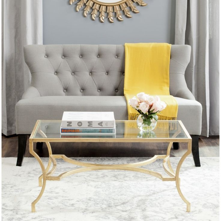 Safavieh Alphonse Gold Coffee Table | Overstock.com $270 Color: Gold Materials: Iron and glass Dimensions: 17 inches high x 37 inches wide x 20 inches deep  Shopping - Great Deals on Safavieh Coffee, Sofa & End Tables