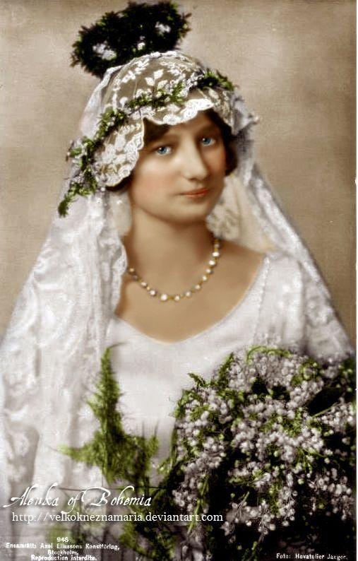 Princess Astrid of Sweden, later Queen of Belgium, in her wedding dress.