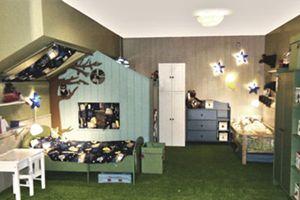Chambre cabane, forêt enchantée. Moquette gazon au sol, cabane en bois...