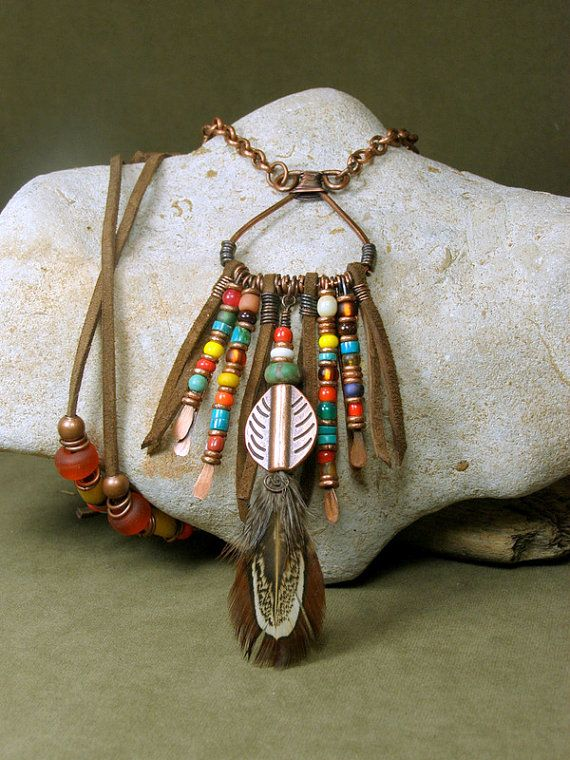 Native Tribal Necklace  Long Bohemian Necklace  by StoneWearDesigns