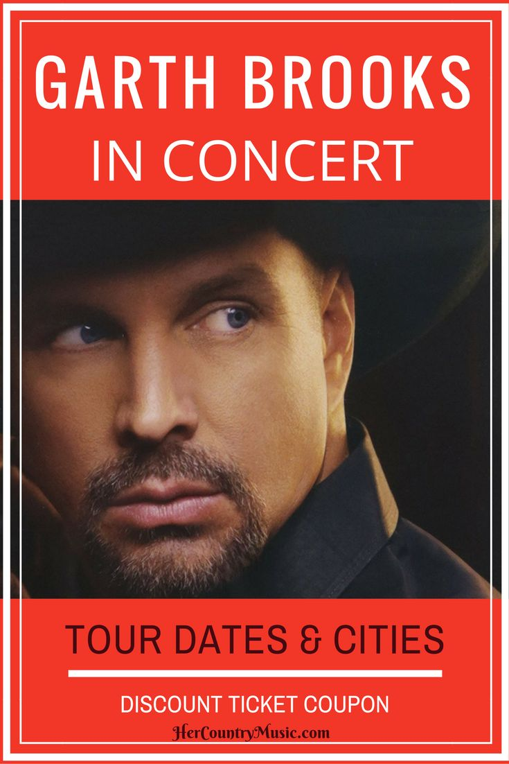 Find the latest Garth Brooks tour dates, cities, tickets and other concert news at HerCountryMusic.com. We also have coupon codes for Garth Brooks concert.