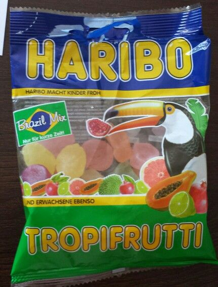 Haribo Tropifrutti BrasilMix mit Papaya, Granatapfel, Limette, Kokos, Grapefruit und Guayana