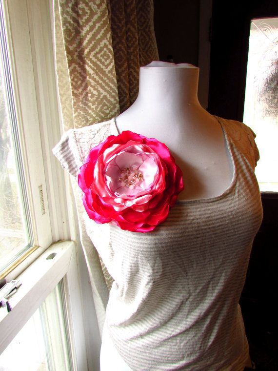 Extra Large Brooch Silk Fabric Flower Pin Beaded Oversized