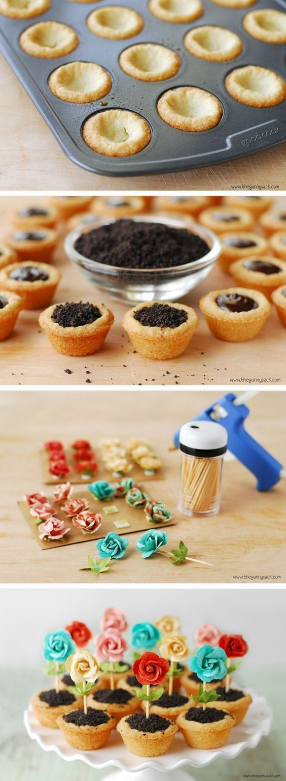 Is it possible these are the cutest cupcakes ever? The Gunny Sack shares how to make these lovely Flower Pot Cookies—the ideal dessert recipe to welcome spring!(How To Make Cake Cookies)