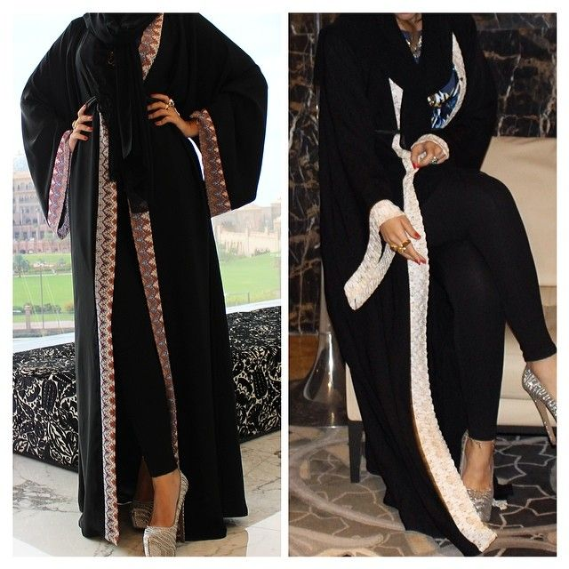 two abaya style ideas ~ if you want it to be modesty then cover yourself with a shawl and wear flats and put up the buttons