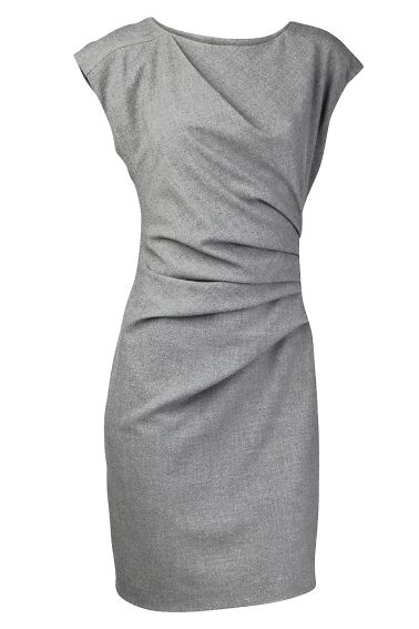 Simple gray dress. I like how it's flattering in fit without being skin tight. Seems like it'd be perfect for the postpartum woman.