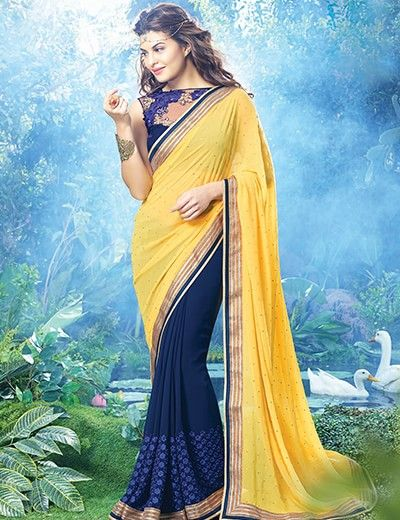 Jacqueline Fernandez, Justifying exactly  to this saree, and she look astounding in this half and half saree  Product code - G3-WSA5102 Price - INR 2795/- only