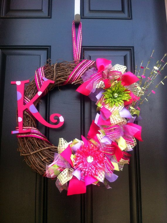 Spring Wreath with Monogram Fuschia Purple by CreationsbySaraJane,