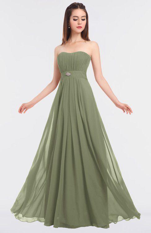 f0f343356cb ColsBM Claire Moss Green Elegant A-line Strapless Sleeveless Appliques Bridesmaid  Dresses