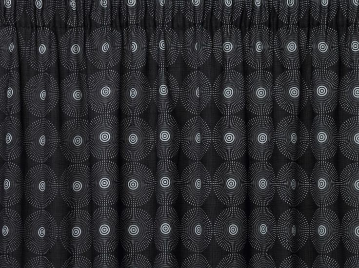 Vortex Black Curtains - Black pencil pleat curtains featuring an interesting circle patterned retro design with a modern twist.