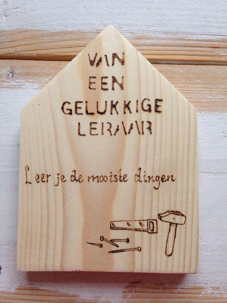 Bedankje voor leraar houtenhuisje