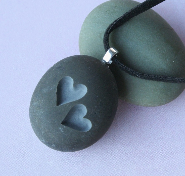 Two Hearts Together - Tiny PebbleGlyph (c) Pendent - engraved stone necklace. $20.00, via Etsy.