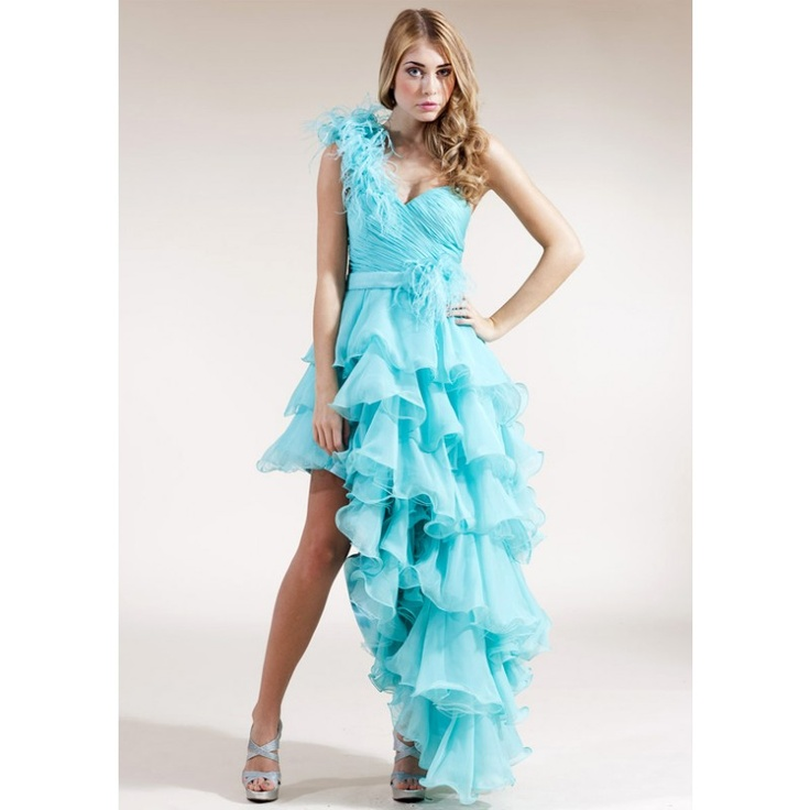 A-Line/Princess One-Shoulder Asymmetrical Organza Satin Homecoming Dress  With Ruffle