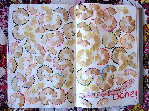 Really neat! its the hide a secret message in your book page, and so i'm guessing they put the pencil shavings meaning they wrote with those...but i love it its so creative! #wreckthisjournal #wtj