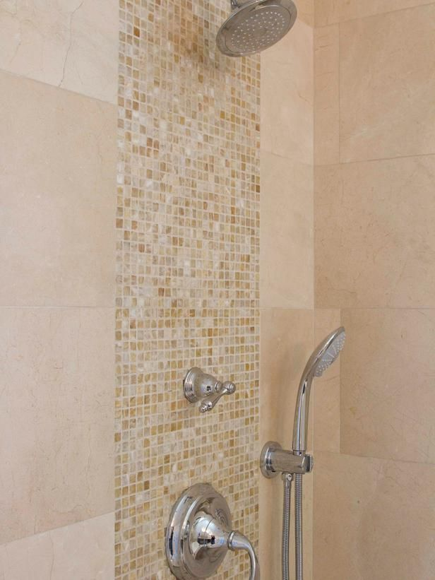 Mosaic Tile Vertical Stripe in Bathroom Shower-Georgette Westerman-i like the shower head plus handheld to the side.