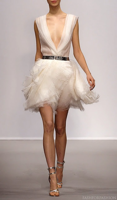 christophe josse deep plunge dress with multi-layer chiffon tulle skirt. i'm in love with this ღ