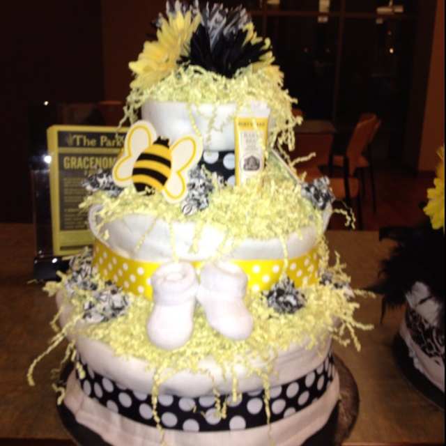 Bumble Bee Themed Diaper Cake
