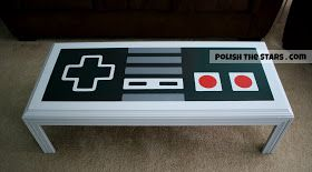 Man cave? Pfft, I want it in my lounge room Polish The Stars: Nintendo Controller Coffee Table, painted. Awesome man cave idea!!