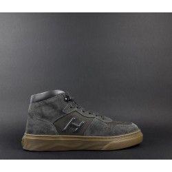 Hogan   Sneakers Uomo H365 Hi Top Camoscio Tela Grigio Prezzo 300 9e8cba5e6b1
