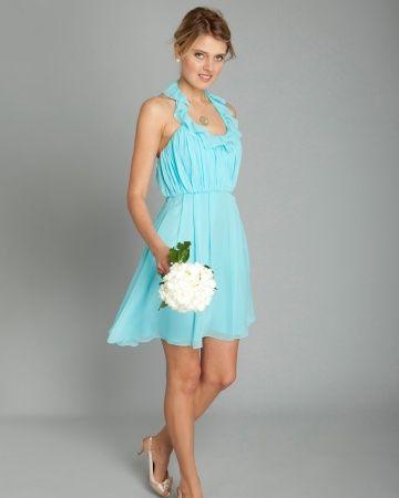 Short Light Blue Bridesmaid Dress