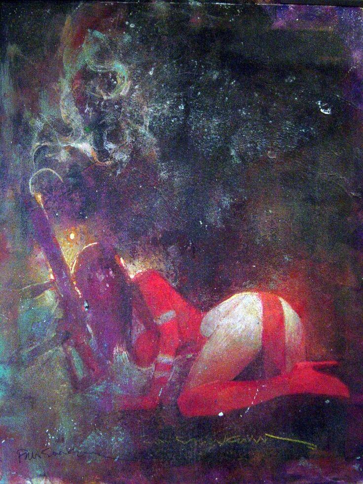 BIll SIENKIEWICZ- Elektra painting. Comic Art
