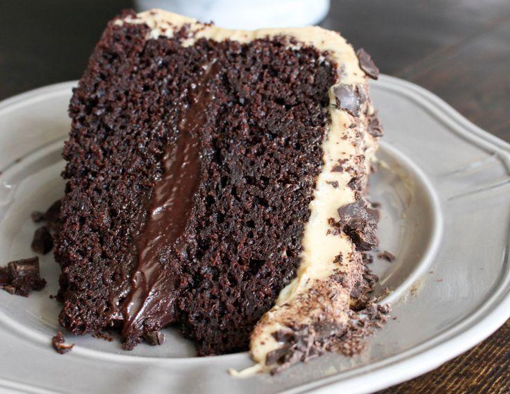 Mocha Cake with Fudge Filling & Espresso Frosting!!