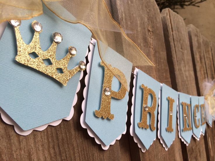 Little Prince royal flag banner light blue white and gold glitter crowns by glittermama on Etsy