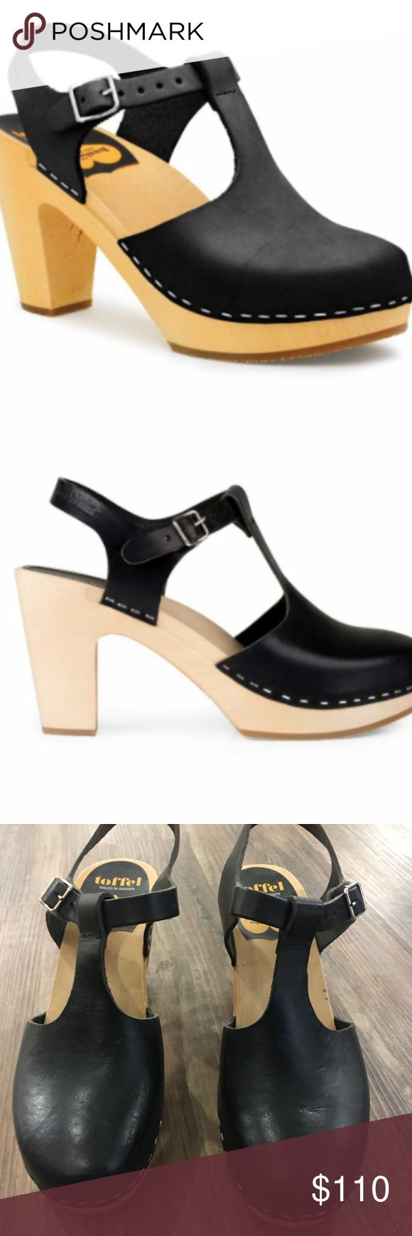 Swedish Hasbeens T-Strap Sky High Heel is 9.5 cm high (3.7 inches) Lime-tree wooden heel with rubber sole Italian natural grain leather, chrome free Swedish Hasbeens Shoes