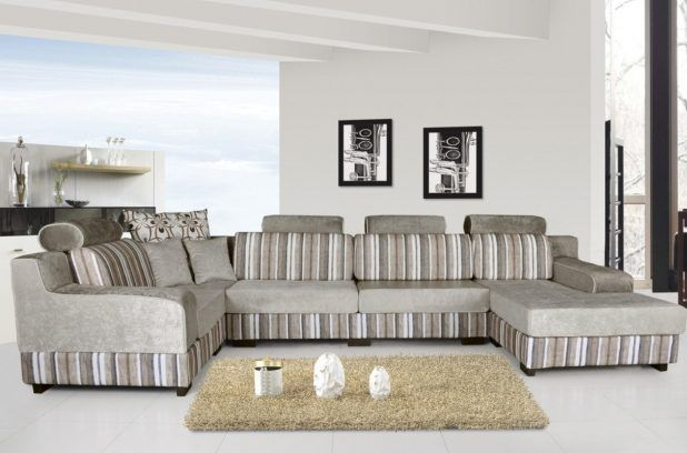 Neutral colored furniture suitable living room design idea with white living room wall paint also gray comfortable sofa set and brown shag rug area