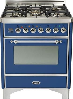 """UM-76-DMP-BL-X 30"""" Majestic Series Freestanding Dual Fuel Range with 5 Sealed Burners 3.0 cu. ft. Primary Oven Capacity Convection Oven Warming Drawer Chrome Trim in Midnight Blue"""