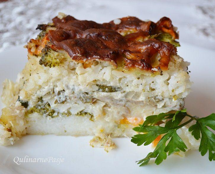 QulinarnePasje: Zapiekanka rybna z ryżem - karmazyn i warzywa