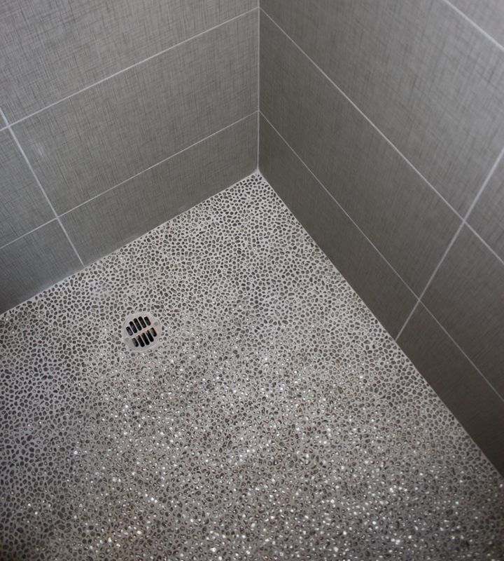 Shower floor idea gray mosaic tile bath remodel for Shower room floor tiles