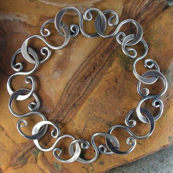 oxidized hammered link bracelet sterling silver by industria