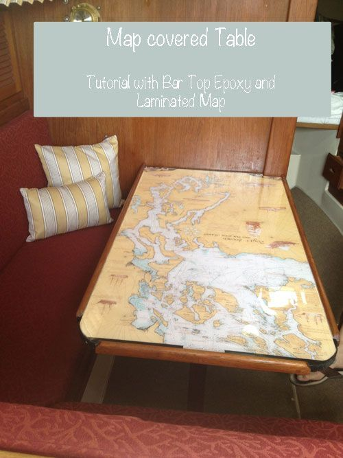 Bar Top Epoxy Love: Sailboat Table Redo With Regional Map Encased in Bar Top Epoxy.