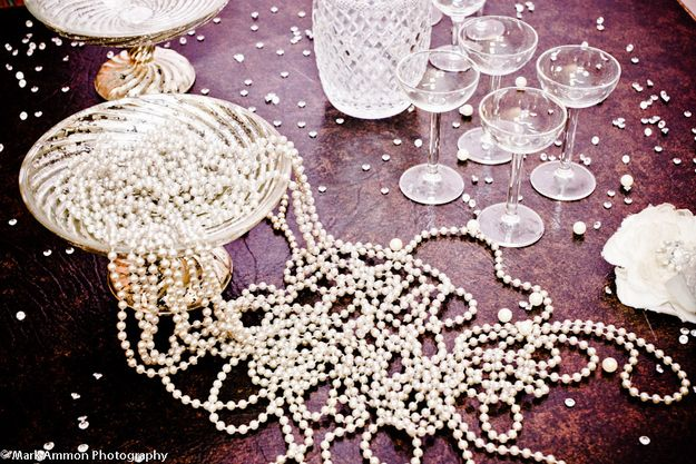 """Tables could be littered with pearls and crystals.   How To Throw The """"Great Gatsby"""" Wedding Of Your Dreams"""