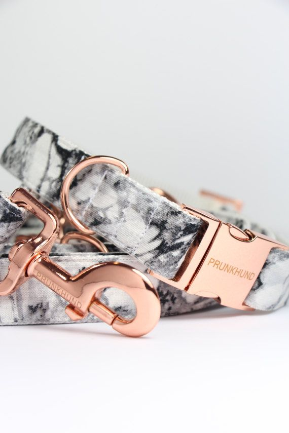 Dog collar MARBLE with rose gold colored hardware  by PRUNKHUND