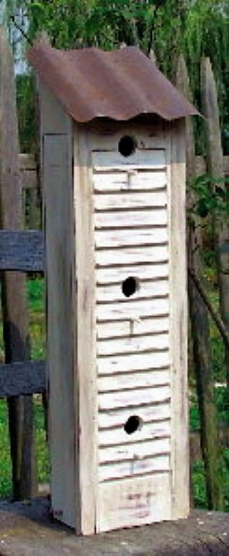Make a birdhouse using a shutter