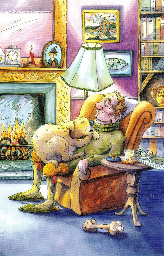Mans best friendyellow labrador greeting cards for the by Fyersart, £1.60