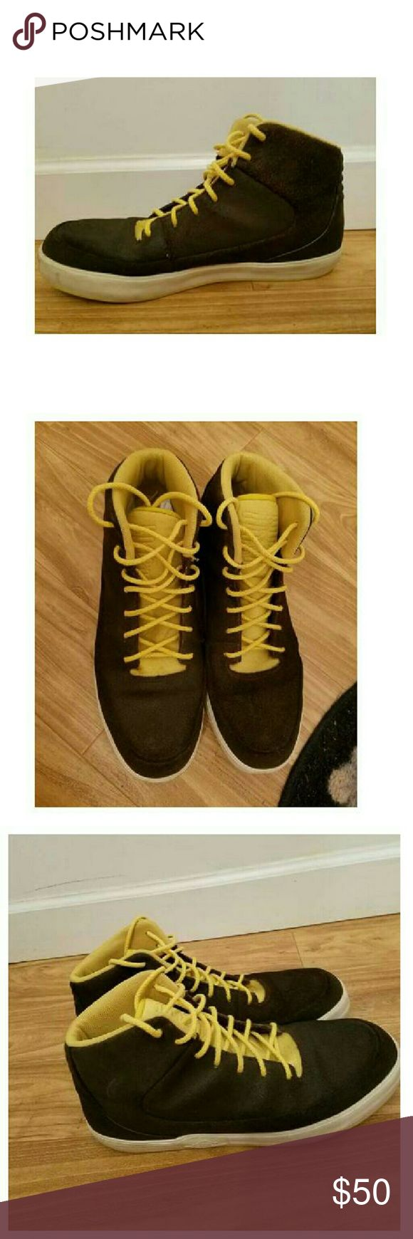 NIKE AIR JORDAN DARK BROWN  SHOES BRAND: AIR JORDAN SIZE: (10.5 MEN) COLOR: DARK BROWN EXTERIOR WITH YELLOW INTERIOR AND STRING CONDITION: PRE-OWED BUT STILL GREAT IN AND OUT CHECK THE IMAGES ZOOM IF YOU CAN AIr Jordan Shoes Athletic Shoes