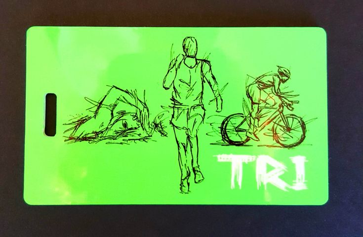 Triathlon Bag Tag Swim Bike Run luggage  gear bag sport tag triathlon gift by FlipTurnTags on Etsy