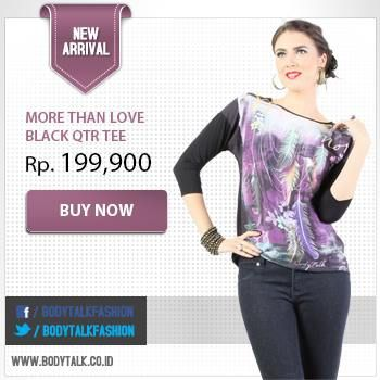 More Than Love Black QTR Tee for looking chic! Get the collection on: www.bodytalk.co.id