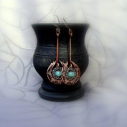 Miedziane kolczyki wire wrapping