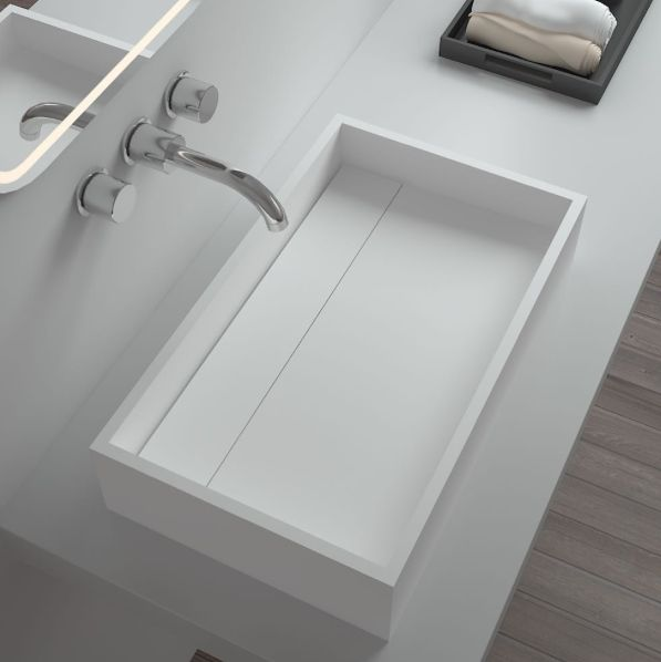 "Our corian basin sink ""Sara"" illustrates subtle elegance from its beautifully finished matte surface to its minimalistic design. In store now!  . . . . #basin #corian #corianbasin #corianstone #minimal #minimalisticdesign #bathroominspiration #interiorinspiration #bathroomideas #homeideas #interiors #design #elegantdesign #bathrooms #bathroomhappiness #interiorideas #interiorinspo #bathroominspo #style #clean #simple #sophisticated #bathroomreno #renovations"