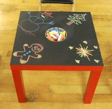 Chalkboard table using Lack Side Table from Ikea