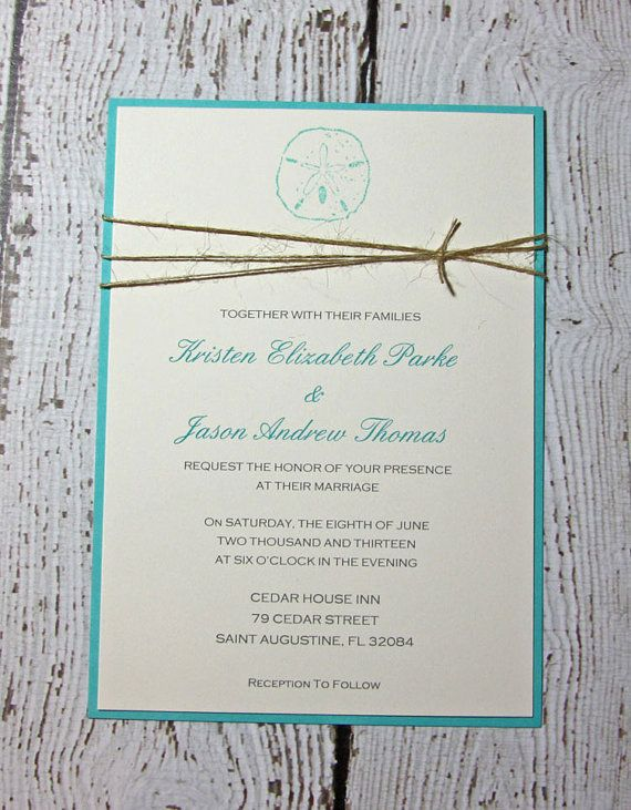 Sand Dollar Wedding Invitations/Beach by TorisCustomCreations, $375.00 for suite (set of 100) Change color; need additional info card