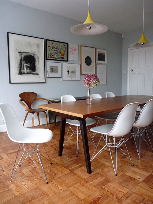 "Sneak Peek: Victoria Suffield and Phil Webb. ""The chairs are Eames DSRs. The table was originally from Phil's shop, but I commandeered it when we moved in. The lights are Semis from Gubi."" #sneakpeek"