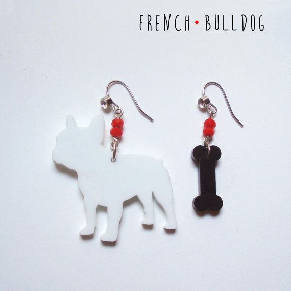 White French Bulldog earrigs with blach bone made of methacrylate and semiprecious stone beads